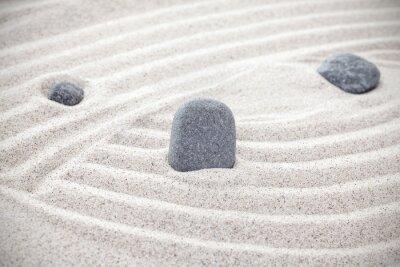 Sticker Three stones in sand, zen concept