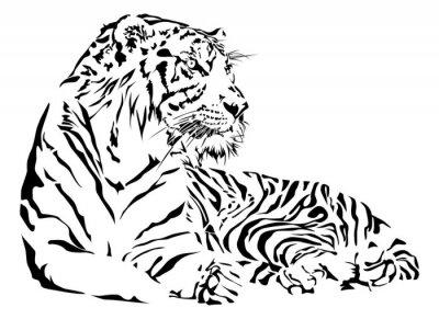 Sticker Tiger black and white