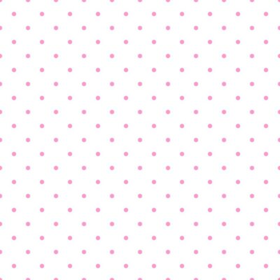 Sticker Tile vector pattern with pink polka dots on white background