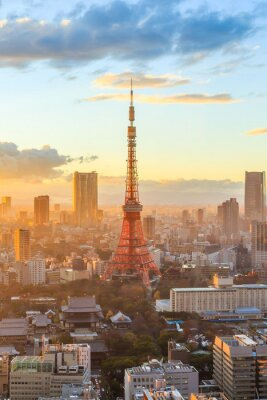 Sticker Tokyo city skyline at sunset in Tokyo