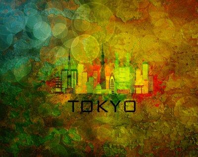 Sticker Tokyo City Skyline on Grunge Background Illustration
