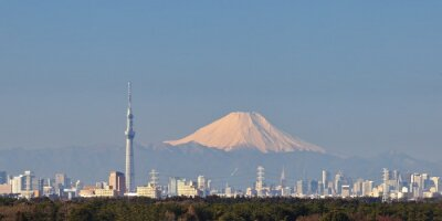 Sticker Tokyo city view with Tokyo sky tree and Mountain Fuji