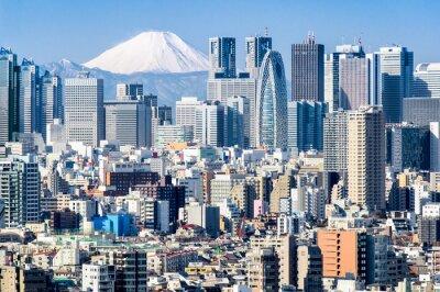 Sticker Tokyo im Winter mit Fujiyama im Hintergrund