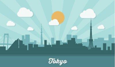 Sticker Tokyo skyline - flat design