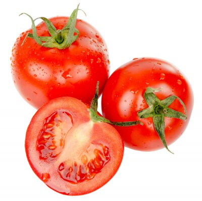 Sticker tomatoes with water drops isolated on the white background