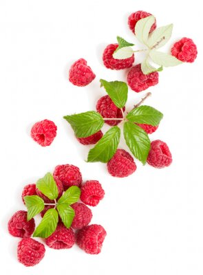 Sticker Top view of  a stack of raspberries