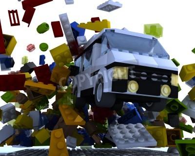 Sticker Toy van hit blocks on white background