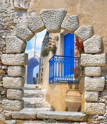 Sticker Traditional architecture of Oia village on Santorini island, Gre