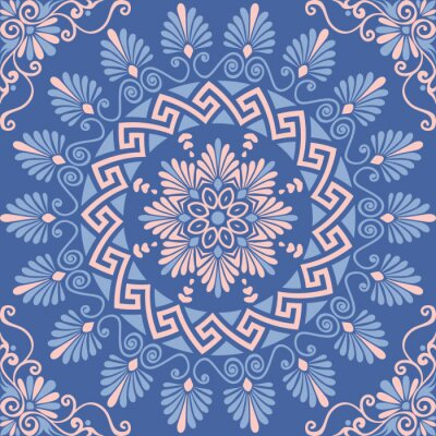 Sticker Traditional  seamless vintage pink, white and blue round floral Greek ornament, Meander