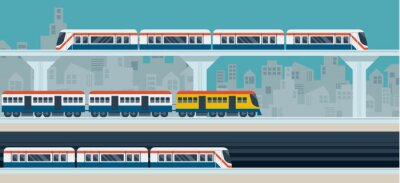 Sticker Train, Sky Train, Subway, Illustration Icons Objects