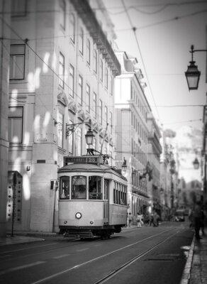 Sticker Tram in Lisbon, retro