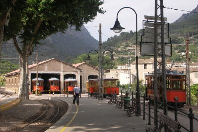 Sticker Trams in Sheds Soller Mallorca Spain