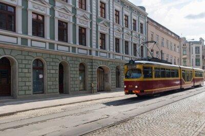 Sticker Tramwaj w centrum Łodzi