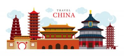 Sticker Travel China Building and City, Destination, Attraction, Traditional Culture