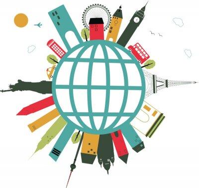 Sticker travel globe on white