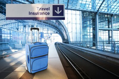 Sticker Travel Insurance. Blue suitcase at the railway station