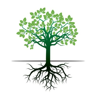 Sticker Tree and Roots. Vector Illustration.