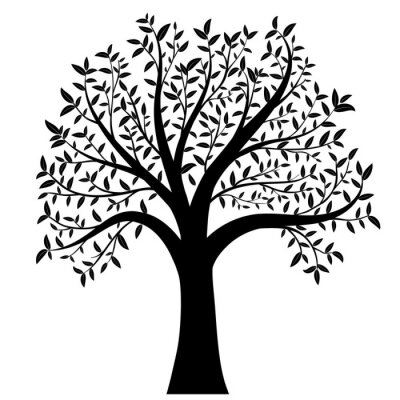 Sticker tree with leaves vector
