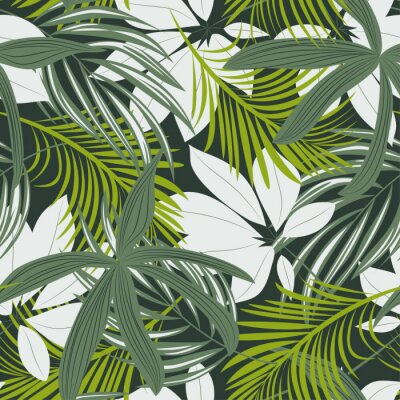 Sticker Trending abstract seamless pattern with colorful tropical leaves and plants on green background. Vector design. Jungle print. Floral background. Printing and textiles. Exotic tropics. Fresh design.