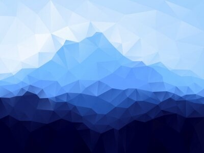 Sticker Triangle geometrical background with blue mountain