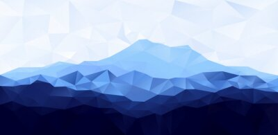 Sticker Triangle low poly polygon geometrical background with blue mountain