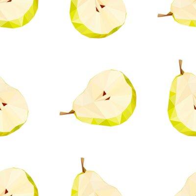 Sticker Triangle polygonal pear vector illustration. Juicy Fruit.