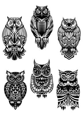 Sticker Tribal owl birds set