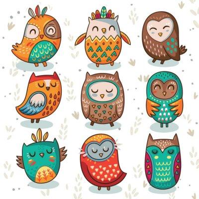 Sticker Tribal owl vector set