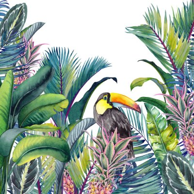 Sticker Tropical card with Toucan, palm trees, pineapples, banana and calathea leaves. Watercolor illustration on white background.