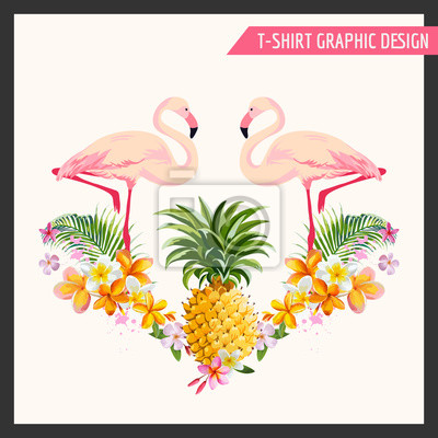 Sticker Tropical Flowers and Flamingo Graphic Design - for t-shirt, fashion