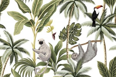 Sticker Tropical vintage animals, toucan, palm trees, banana tree floral seamless pattern white background. Exotic jungle wallpaper.