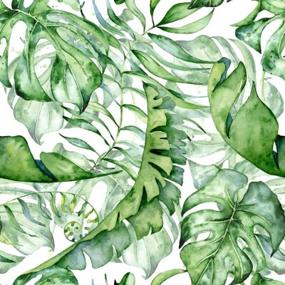 Sticker Tropical watercolor seamless pattern with green leaves illustration