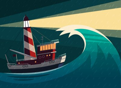 Sticker Tugboat during the storm with lighthouse on it. Vector illustration.
