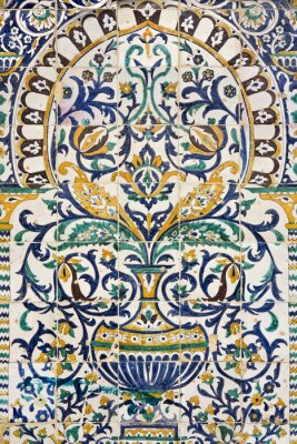 Sticker Tunisia. Kairouan - the Zaouia of Sidi Saheb. Fragment of ceramic tiled panel with floral and architectural motifs