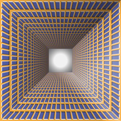 Sticker Tunnel with checkered walls. Abstract background with the optical illusion of movement.
