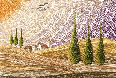 Sticker Tuscany landscape - digital painting concept