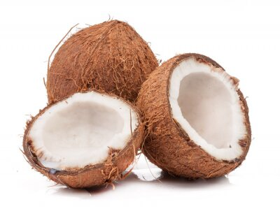 Sticker Two coconut one of which split isolated