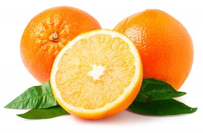 Sticker Two oranges isolated on white