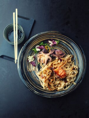 Sticker Udon noodles with salmon and octopus