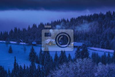 Ukrainian village in a moonlight