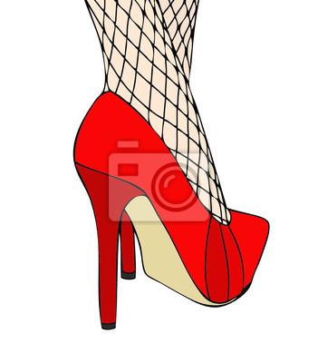 separation shoes bc7f8 fb115 Sticker: Una donna in eleganti scarpe rosse e calze a rete