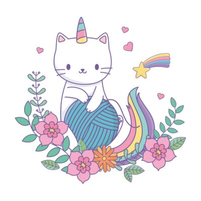 Sticker Unicorn cat cartoon vector design