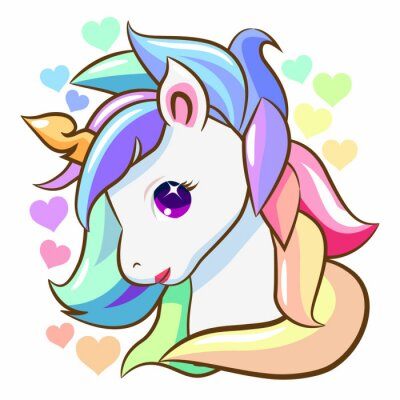 Sticker unicorn head vector