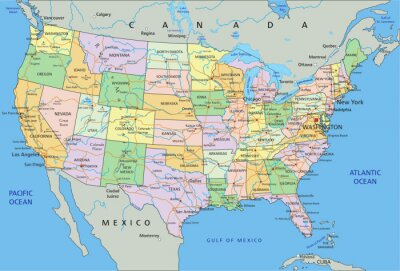Sticker United States of America - Highly detailed editable political map with labeling.