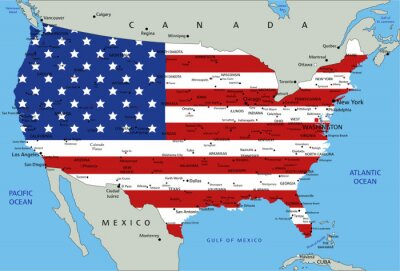 Sticker United States of America highly detailed political map with national flag.