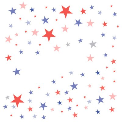 Sticker United States Patriotic background in flag colors with faded dull stars scattered on a white background