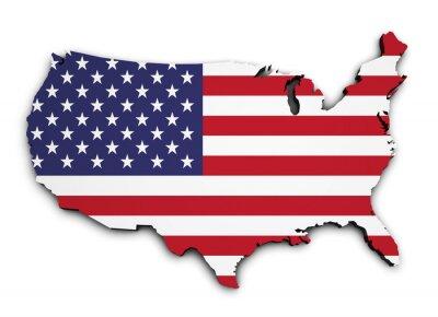 Sticker USA Flag Map 3d Shape