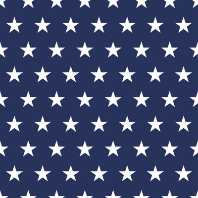 Sticker USA flag seamless pattern. White stars on a blue background. Memorial day