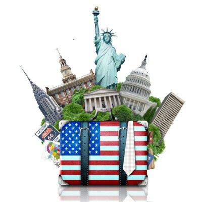 Sticker USA, landmarks USA, suitcase and New York