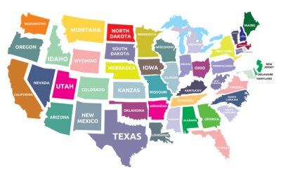 Sticker USA map with states